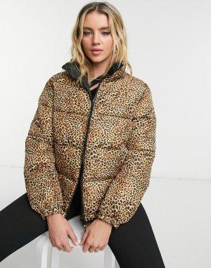 Двусторонняя коричневая куртка-пуховик Cool Kitten-Коричневый цвет BB Dakota