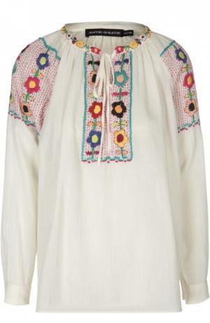 Блуза с контрастной вышивкой и круглым вырезом Antik Batik. Цвет: белый