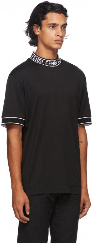 Black Logo Collar T-Shirt Fendi. Цвет: f0qa1 black