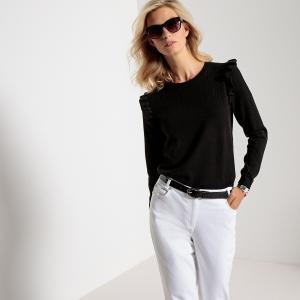 Пуловер из тонкого трикотажа с круглым вырезом и длинными рукавами ANNE WEYBURN. Цвет: розовое дерево,черный