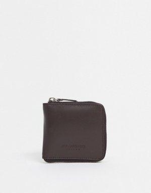 Кожаный бумажник на молнии -Коричневый Bolongaro Trevor