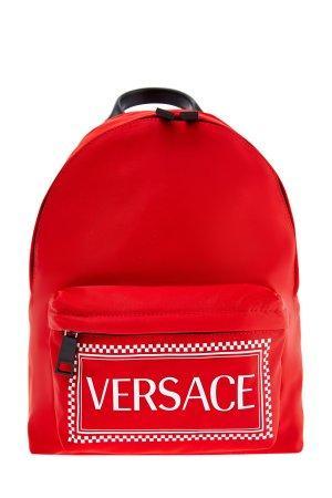 Сверхлегкий рюкзак из нейлона с макро-логотипом «90s Vintage» VERSACE. Цвет: красный