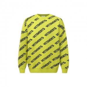 Шерстяной свитер VETEMENTS. Цвет: зелёный