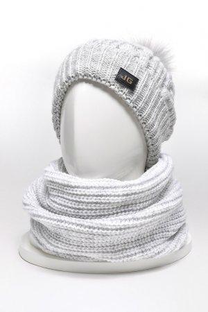Комплект: шапка, снуд, варежки JAGGA. Цвет: светло-серый, белый