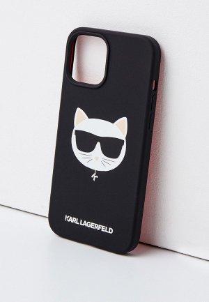 Чехол для iPhone Karl Lagerfeld 12 Pro Max (6.7), Liquid silicone Choupette. Цвет: черный