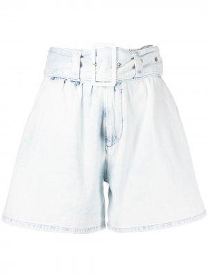 Джинсовые шорты с завышенной талией и поясом MSGM. Цвет: белый