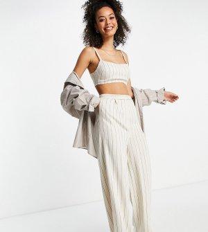 Брюки с широкими штанинами в полоску из выбеленной льняной ткани от костюма 3 предметов ASOS DESIGN Tall-Многоцветный Tall