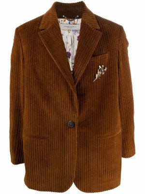 Вельветовый однобортный пиджак Golden Goose. Цвет: коричневый