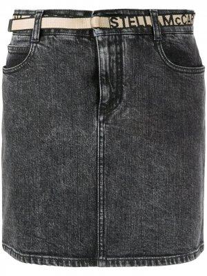 Джинсовая юбка с логотипом на поясе Stella McCartney. Цвет: черный
