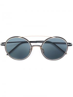 Солнцезащитные очки с круглой оправой Thom Browne Eyewear. Цвет: черный