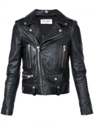 Укороченная байкерская куртка Saint Laurent. Цвет: чёрный