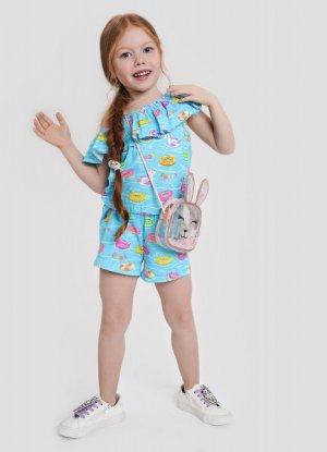 Трикотажный комбинезон для девочек O`Stin. Цвет: светло-бирюзовый
