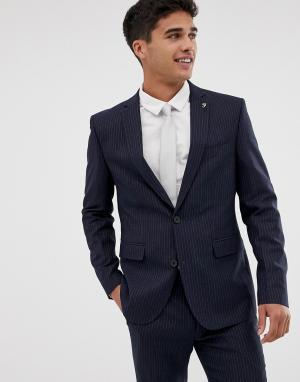 Темно-синий приталенный пиджак в тонкую полоску Farah Henderson Smart