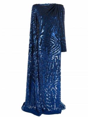 Вечернее платье с пайетками Jenny Packham. Цвет: синий