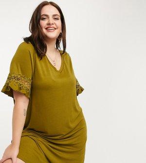 Зеленое платье-футболка -Зеленый Junarose