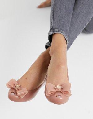 Бежевые туфли на плоской подошве с бантом и логотипом -Neutral Vivienne Westwood for Melissa