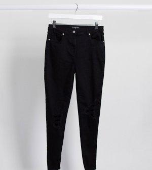 Черные джинсы скинни с рваными коленями -Черный Parisian Tall