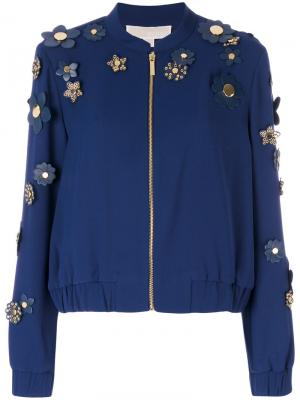 Куртка-бомбер с декором из цветов Michael Kors. Цвет: синий