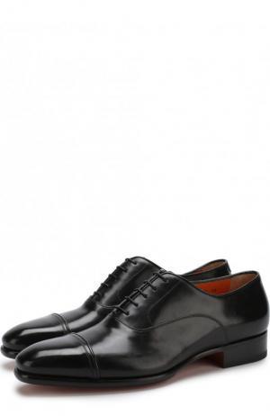 Кожаные оксфорды на шнуровке Santoni. Цвет: черный
