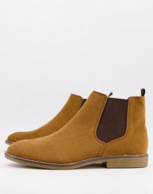 Светло-коричневые ботинки челси из искусственной замши -Светло-коричневый Topman