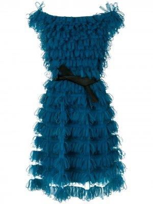 Off the shoulder ribbon dress Gloria Coelho. Цвет: синий