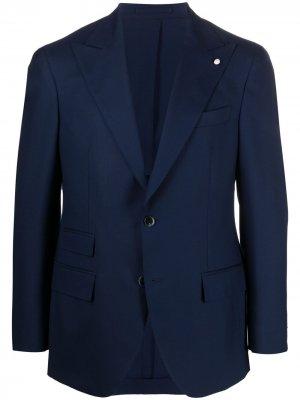 Однобортный пиджак строгого кроя LUIGI BIANCHI MANTOVA. Цвет: синий