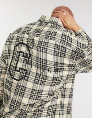 Oversized-рубашка в стиле 90-х с принтом города на спине -Бежевый ASOS DESIGN