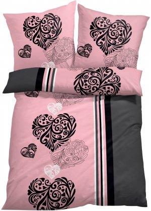 Постельное белье с узором в виде сердец bonprix. Цвет: розовый