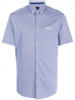 Рубашка с короткими рукавами и логотипом BOSS. Цвет: синий