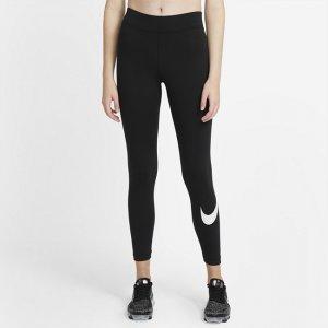 Женские леггинсы с логотипом Swoosh со средней посадкой Sportswear Essential - Черный Nike