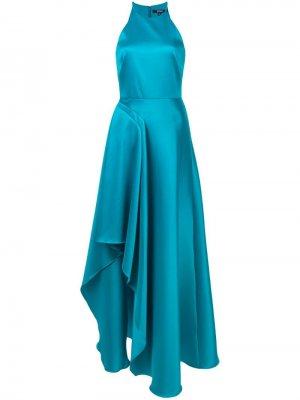 Вечернее платье с оборками Badgley Mischka. Цвет: синий