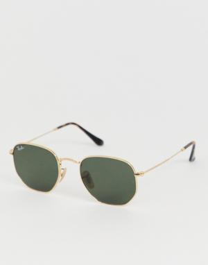 Солнцезащитные очки в золотистой шестиугольной оправе -Золотистый Ray-Ban