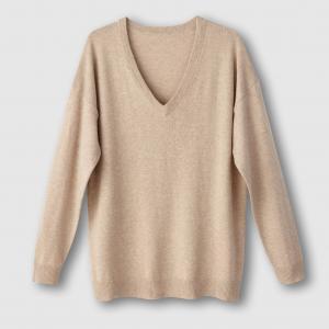 Пуловер с V-образным вырезом из хлопка и кашемира La Redoute Collections. Цвет: розовый коралловый