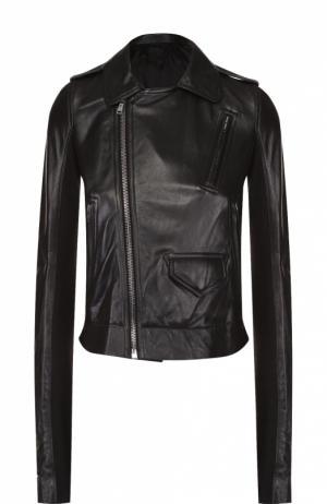 Укороченная кожаная куртка с косой молнией Rick Owens. Цвет: черный