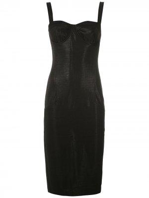 Облегающее платье миди Eva. Цвет: черный