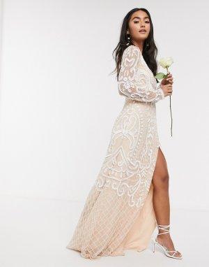 Белое свадебное платье макси с отделкой -Белый Frock and Frill