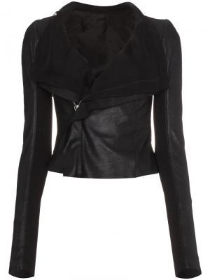 Драпированная кожаная куртка Rick Owens. Цвет: черный