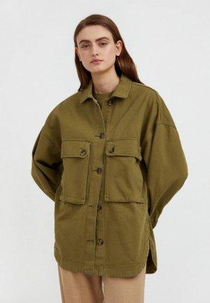 Куртка джинсовая Finn Flare. Цвет: зеленый