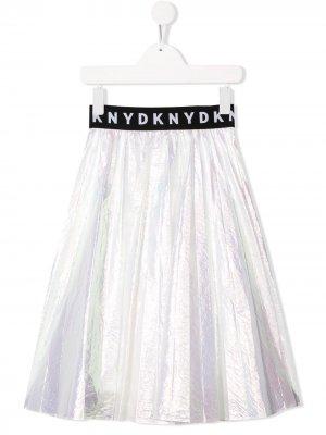 Плиссированная юбка миди Dkny Kids. Цвет: белый