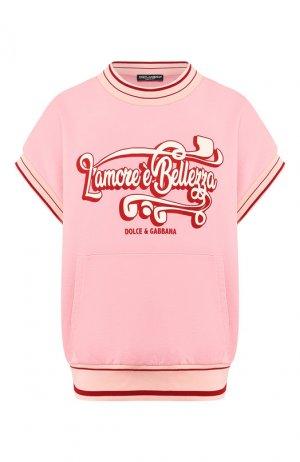 Хлопковый пуловер Dolce & Gabbana. Цвет: светло-розовый