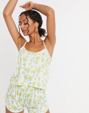 Пижамный комплект с майкой принтом -Желтый Adolescent Clothing