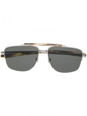 Солнцезащитные очки с мостом сверху Brioni. Цвет: серебристый