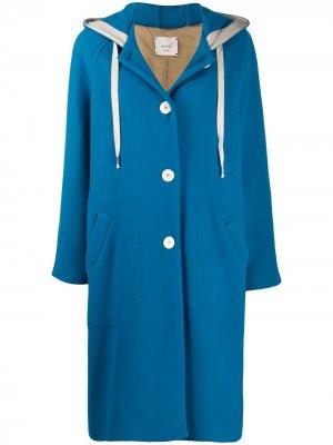 Пальто с капюшоном Alysi. Цвет: синий