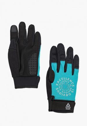 Перчатки для фитнеса Reebok. Цвет: бирюзовый