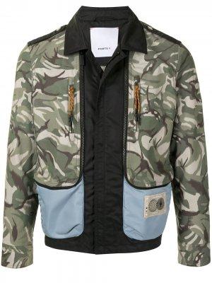 Куртка-бомбер со вставками и камуфляжным принтом Ports V. Цвет: зеленый