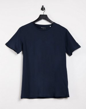 Темно-синяя футболка из органического хлопка с логотипом -Темно-синий Knowledge Cotton Apparel