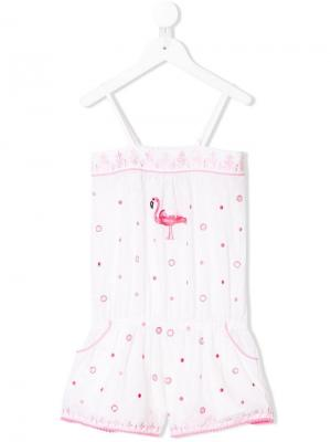 Комбинезон с вышивкой фламинго Elizabeth Hurley Beach Kids. Цвет: белый
