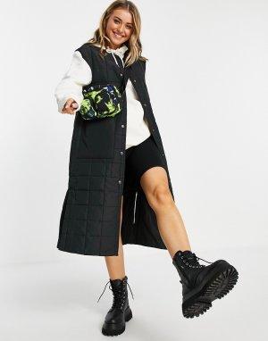 Черный удлиненный стеганый жилет из переработанных материалов -Черный цвет Monki