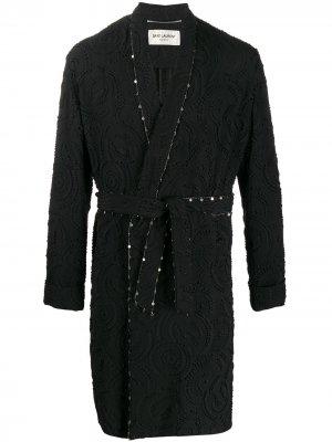 Декорированный халат Saint Laurent. Цвет: черный