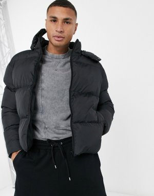 Черная укороченная куртка-пуховик со съемным капюшоном -Черный цвет ASOS DESIGN